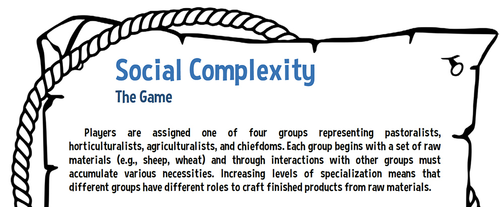 A portion of the instructions for Social Complexity: The Game.