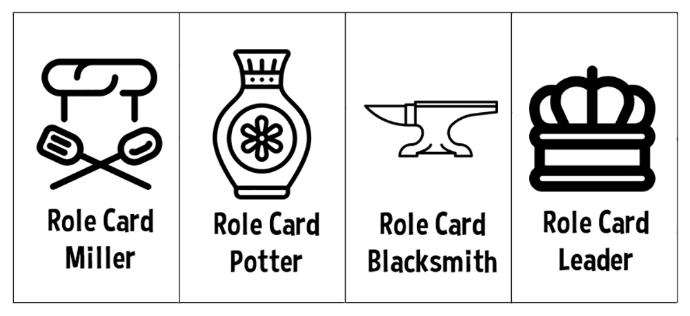 Role cards representing craft specialists in Social Complexity: The Game.