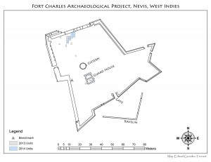 Site Map of Fort Charles Archaeological Project in Nevis