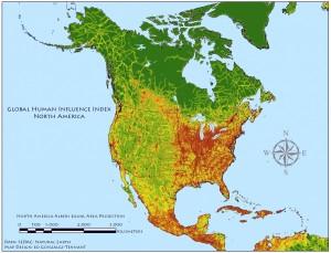 Global Human Influence in N. America