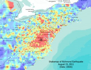 2011 Richmond Earthquake Shakemap